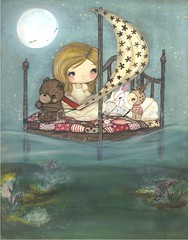 (the poppy tree) Tags: ocean bear wood pink sea sky moon cute rabbit bunny art water girl animal night painting print stars reading book boat bed quilt time under dream deer read canvas pillow story sail corral whimsical thepoppytree
