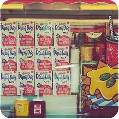 dipsy dogs (stOOpidgErL) Tags: carnival red summer food yellow cheese square fun hotdog junk ketchup pop retro faded fries corndog mustard pickles soda mountclemens stoopidgerl dipsydog
