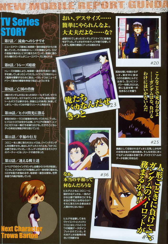 Also, the Gundam Wing novel announced in late April, and is being serialized
