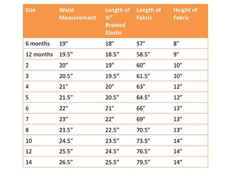 The Dress Up Skirt Sizing Chart