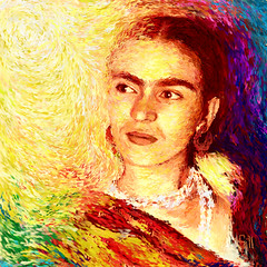 Frida in Colour of Joy (Shubnum Gill) Tags: poverty birthday red portrait people woman india motion color colour green art yellow modern female america painting freedom mujer eyes women asia peace drawing folk expression surrealism gorgeous delhi indian protest frida stroke canvas fluid communism mexican exploitation latin painter oil fridakahlo socialist feminism worker surrealist imperialism gill feminist kahlo struggle marxism newdelhi equality artista realism atheist earing pintora indianwomen mejicana purpple shubnum emanicipation shubnumgill shubnamgill