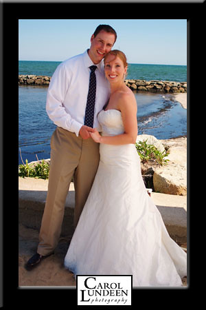 Kevin Bardon and Laura Shannon wedding day portrait at the Lighthouse Inn, Cape Cod