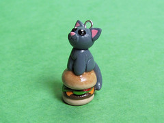 Cheeseburger Cat Charm (DragonsAndBeasties) Tags: cheese cat kitten lol burger kitty charm gift etsy custom pendant phonecharm zipperpull lolcat