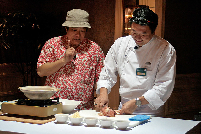Cooking demo by KF Seetoh and Executive Chef Eric Teo who deftly de-skinned the chicken in one swift move!
