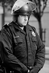 Officer M. Miller, Oakland Riots, 2010 (Thomas Hawk) Tags: california bw usa oakland riot cops unitedstates 10 unitedstatesofamerica protest police eastbay riots oaklandpd fav10 oaklandpolicedepartment oscargrant oaklandriots oaklandlocal johannesmersehle oaklandca070810 oaklandriots2010
