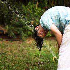 sprinklehead (sgoralnick) Tags: party summer holiday water brooklyn backyard bbq sprinkler phillip splash july4th 4thofjuly greenpoint phillipckim