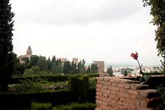 Blick auf den Palacio Real von Generalife, Alhambra, Andalusien