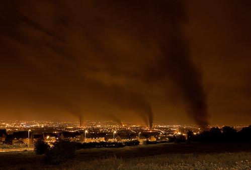 View of Belfast, Burning Bonfires Throughout Protestant Neighborhoods