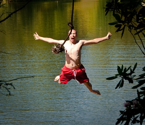 jumping off a rope swing