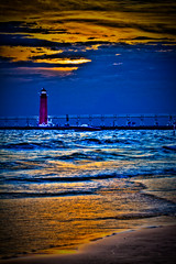 Grand Haven Beach (NightFox Photography) Tags: sunset summer sky sun lighthouse lake water photography pier michigan lakemichigan imaging grandriver hdr highdynamicrange grandhaven corysmith