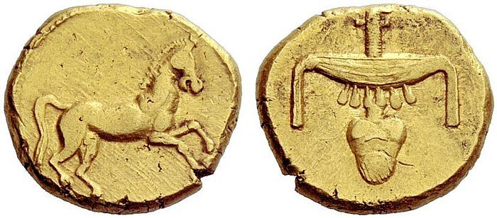 A Rare Pharaonic Egyptian Gold Stater, Issued by Nectenabo II (359-340 B.C.E.), Among the Finest Known