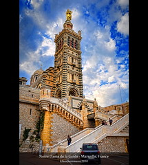 Notre Dame de la Garde - Marseille, France (farbspiel) Tags: travel blue red vacation orange holiday france colour history tourism church colors sunshine yellow clouds photoshop religious temple photography gold marseille nikon frankreich worship colorful colours cloudy religion wolken belief wideangle bluesky historic holy journey blended handheld colourful nikkor spiritual blauerhimmel fra notredamedelagarde farben blend sonnenschein wolkig seafarer niceweather postprocessing 18200mm d90 schneswetter digitalblending provencealpesctedazur farbenpracht topazclean topazadjust topazdenoise klausherrmann topazsof