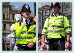 Baby Faced Bobbies (The Old Brit) Tags: street collage liverpool cops candid cities police humour uniforms bobbies helmets policemen merseyside britishbobbies