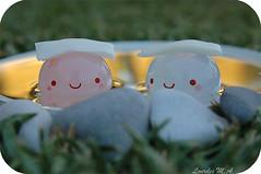 Spa at sunset (itslour) Tags: sunset flower cute water grass reflections relax toy japanese mirror golden rocks acrylic stones kawaii sakura spa manju onsenmanjukun