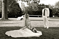 DSC_0600 (D.Clow - Maryland) Tags: wedding red summer portrait blackandwhite pose groom bride md married tie marriage maryland limo tuxedo pasadena tux 2010 redtie whitetux glenburnie whitetuxedo