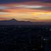 夕暮れ空の富士山