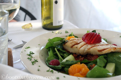 Grilled Halibut with warm spinach/chorizo salad, mandarin oranges, grilled asparagus, spicy pecans