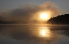 """ Taken by the sky "" (gmayster01 on & off ...) Tags: sky sun mist lake canada reflection nature sunrise soleil photo flickr quebec dream taken lac ciel aer reflets reve pris wysiwyg fleetwoodmac montebello unadulterated gmayster01 gmayster"