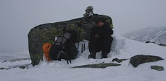 Jotunheimen, koffiepauze in de sneeuwstorm