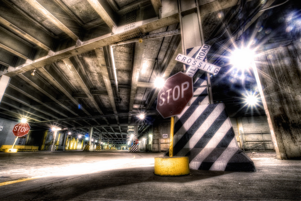 Underneath a bridge in Chicago.