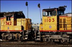 UP Processed At The Wye (greenthumb_38) Tags: california railroad up canon300d wind kitlens windy trains unionpacific locomotive orangecounty anaheim digitalrebel processed photoimpact sw1500 1755mm gp38 jeffreybass