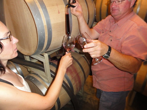 Bill Eggert with Stacey in his barrel room