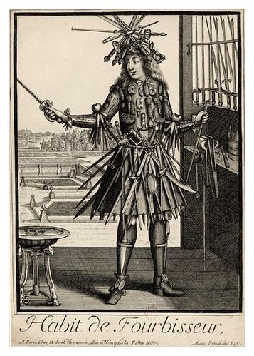 033-Vestimenta de bruñidor de espadas y cuchillos-Les Costumes Grotesques 1695-N. Larmessin-BNF