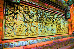 Temple Carvings (High Sat) (cwgoodroe) Tags: light summer sky bali detail statue temple buddha pray limestone hindu pura deity ubud diety batubulan