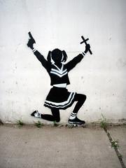 CRO (Barrybu) Tags: street chicago art gun cross cheerleader cro