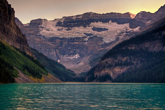 The most beautiful place on earth under the gloaming (JoLoLog) Tags: lake canada joe alberta lakelouise 93 hdr banffnationalpark themostbeautifulplaceonearth canonxsi