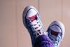 Because maybe (Honey Pie!) Tags: blue red shoes purple stripes lilac converse legwarmers allstar listras polainas melinadesouza tiradacomalentedatiamaisjóiadomundo