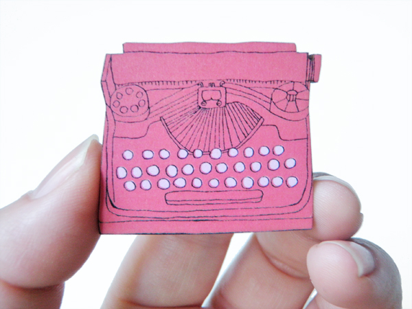 Typewriter Wood Brooch - Red