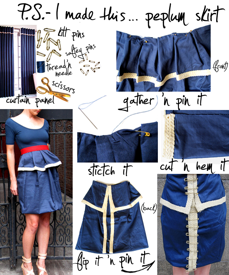 P.S. I made this DIY How-To Peplum Skirt from Curtain Panel