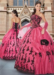 Gorgeous Pink and Black Quinceanera (Sabrina Satin1) Tags: fantasy satin crossdresser effeminate quinceanera ballgown crossdressingfantasy