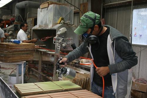 Hand glazing tiles