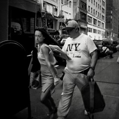 FAST LANE (joewig) Tags: city nyc people bw lumix blackwhite interestingness streetphotography panasonic lx3