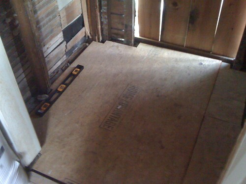 new subfloor in mudroom/entryway