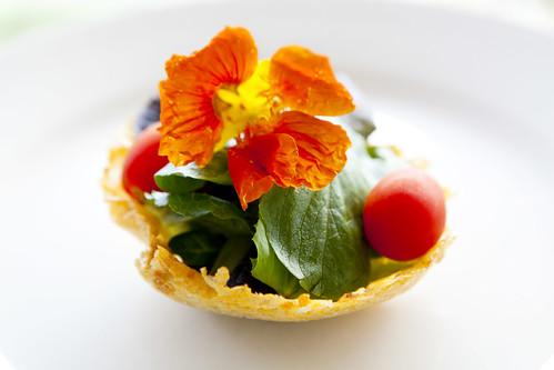 Salad in a Grana Padano frico bowl