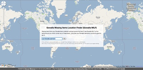 Gowalla Missing Items Location Finder — Welcome Screen