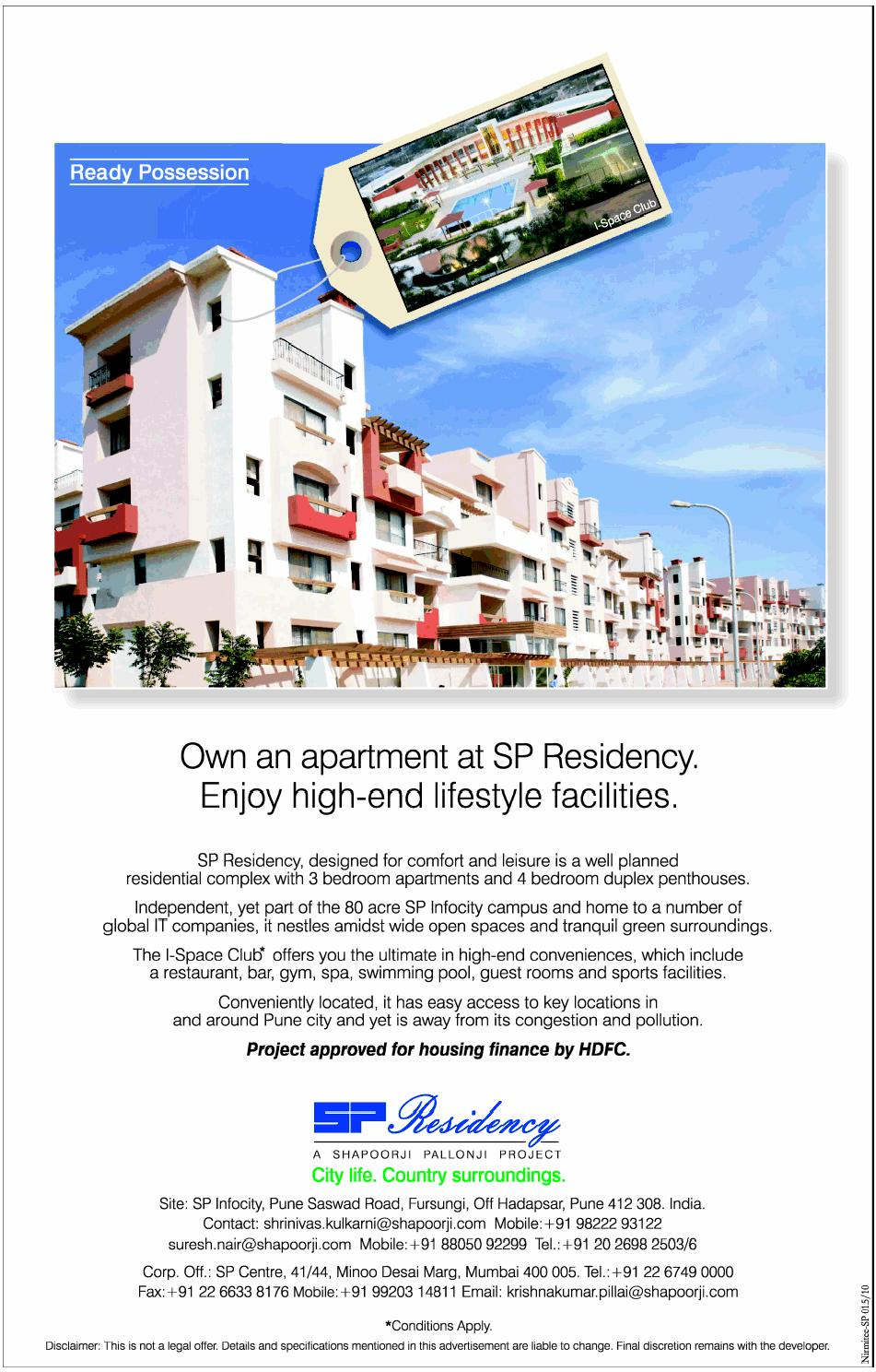SP Residency, SP Infocity, Fursungi, Hadapsar, Pune 412 308