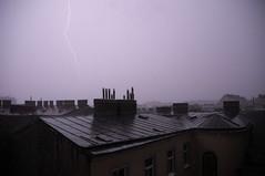 thunderstorm (Marion Schreiber) Tags: vienna wien roof rooftop dark austria abend sterreich cool rooftops nacht flash roofs thunderstorm vignetting gewitter thunderbolt sturm flashes dcher bluecast unwetter darkish blitze