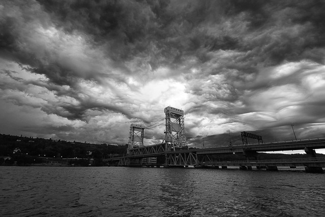 Crazy storm clouds over the Portage Lake Lift Bridge.