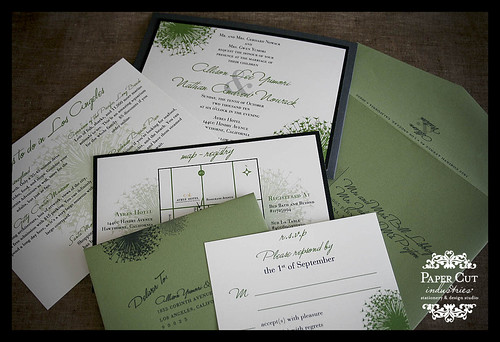 Gray & Green Dandelion Wedding Invitations with Pockets