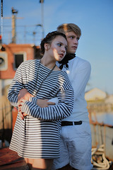 Whistle For The Wind (Alexander Kuzmin Photography) Tags: sea portrait fashion scarf french boat marine couple ship outdoor availablelight ambientlight stripes navy tie naturallight overlay rope story sling anchor sail series vest sailor shadowplay choker necktie openair mariner rainman doubleportrait alexanderkuzmin kuzmin difital canon5dmarkii rainbook