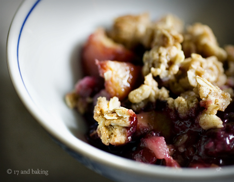 Blackberry, Peach, and Ginger Crumble