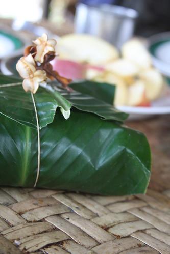 Sticky rice in banana leaf, Bokeo Laos