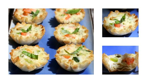 mini summer quiches (zucchini, tomato, bell pepper, pesto, asiago)