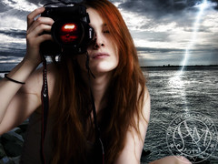 Randi (Poe Tatum) Tags: camera red woman water girl photoshop hair head ripple awesome nuclear boom redhead lightening