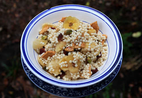 Nut Couscous - This dried fruit and nut couscous is a great summer dish full of sweet flavors. The Mediterranean couscous is thick and hearty.