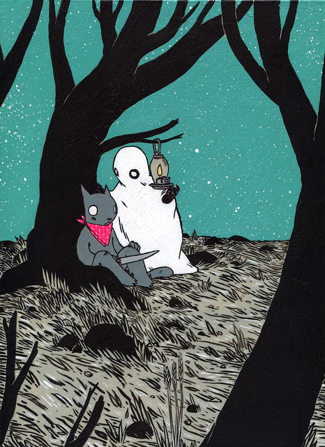 Ghost with Cat in Forest